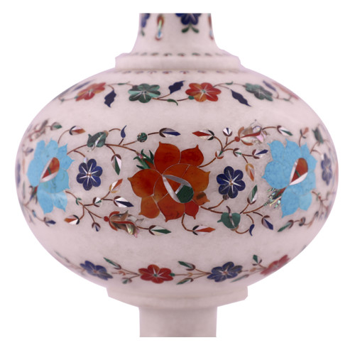 White Marble Inlay Decorative Floor Vases For Home Decor