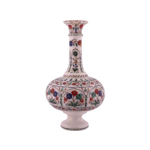 Antique Decorative White Marble Flower Pot Inlaid Gemstones