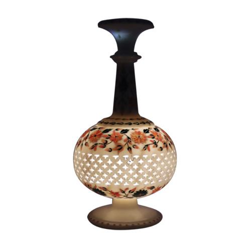 Handmade Lattice Design White Marble Flower Vase Inlaid Pietra Dura Work