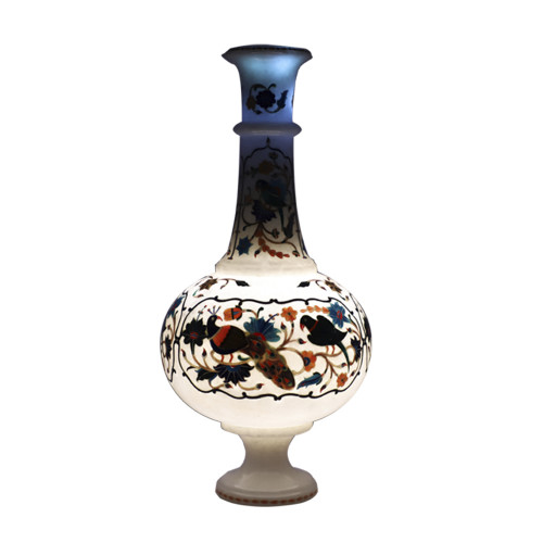 Handmade White Marble Flower Pot Inlaid Peacock Mosaic Art Piece