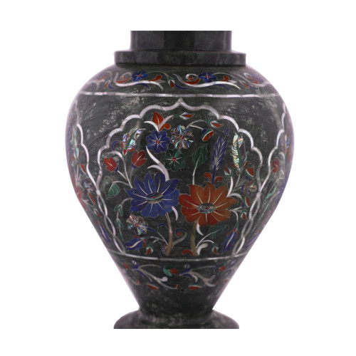 Decorative Green Marble Inlay Flower Vase Marquetry