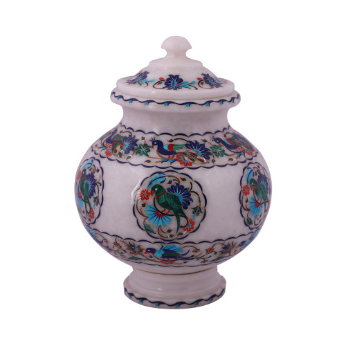 Handmade White Marble Flower Pot Inlay Peacock And Parrot Design