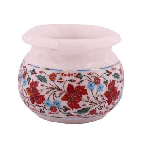 Carnelian Gemstone Inlay White Marble Flower Pot