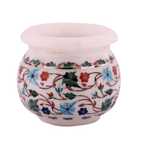 White Marble Flower Pot Inlay Mosaic Art Work