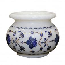 Handmade White Marble Flower Pot Inlaid Lapis Lazuli