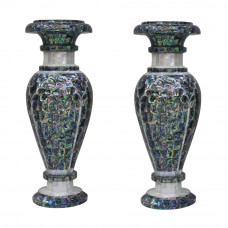 Mosaic Art White Marble Inlay Flower Vase In Pair