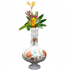 Unique Decorative White Marble Vase Inlay Carnelian Gem Stone-