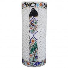 White Marble Inlay Floor Vases Parrot Pietra Dura
