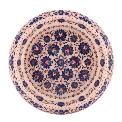 White Marble Decorative Fruit Bowl Inlay Pietra Dura Art Work