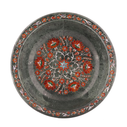Mosaic Art Inlay Green Marble Decorative Fruit Bowl For Kitchen Decor