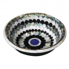 White Marble Fruit Bowl Inlaid Black & White Pearl
