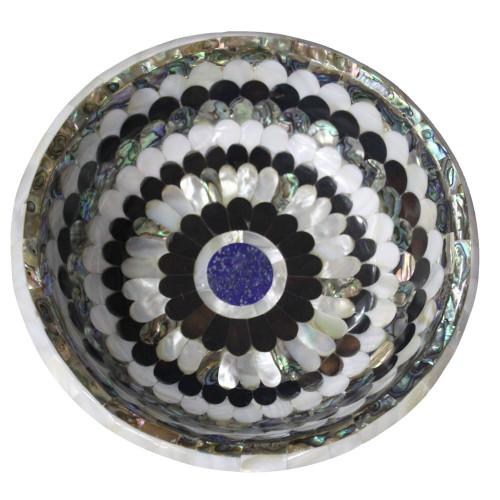White Marble Fruit Bowl Inlaid Black & White Pearl