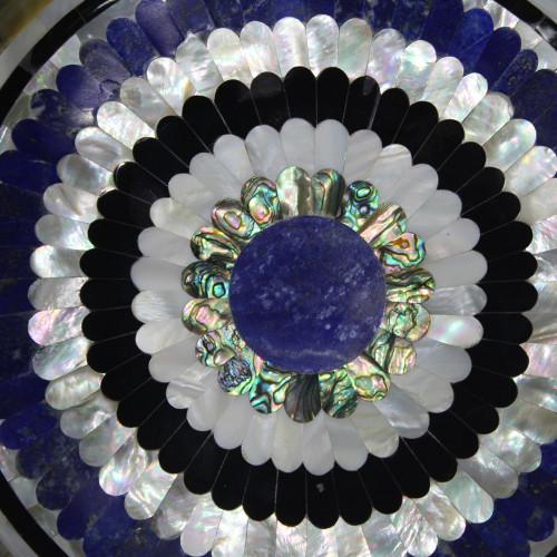 Green Marble Fruit  Bowl Inlaid Lapis Lazuli