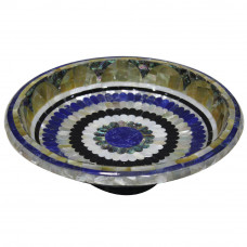 Green Marble Fruit  Bowl Inlaid Lapis Lazuli