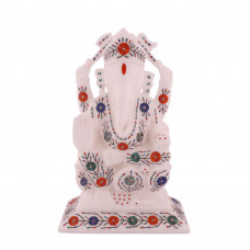White Marble Lord Ganesha Statue Inlaid Semiprecious Gemstone