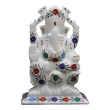 "9"" x 6"" Inch Handmade White Marble Ganesha Sculpture For Home"