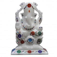 "6.5"" x 4.5"" Inch Antique Pietra Dura Art Inlay White Lord Ganesha Statue"