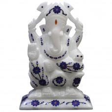 "6.5"" x 4.5"" Inch Lapislazuli Gemstone Inlaid White Marble Ganesh Figurine"