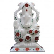 Carnelian Gemstone Inlaid White Alabaster Ganesh Statue