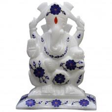 Handmade Vintage Art Inlay White Ganesh Figurine