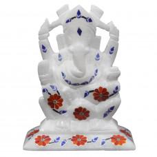 "Alabaster Ganesha Statue Inlay Stones Artwork 4"" Height"