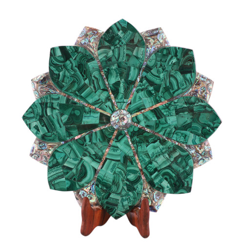 White Marble Lotus Leaf Bowl Inlaid Malachite Gemstone