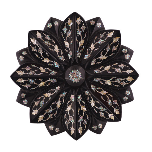 Handmade Black Marble Lotus Fruit Bowl For Home Decoration