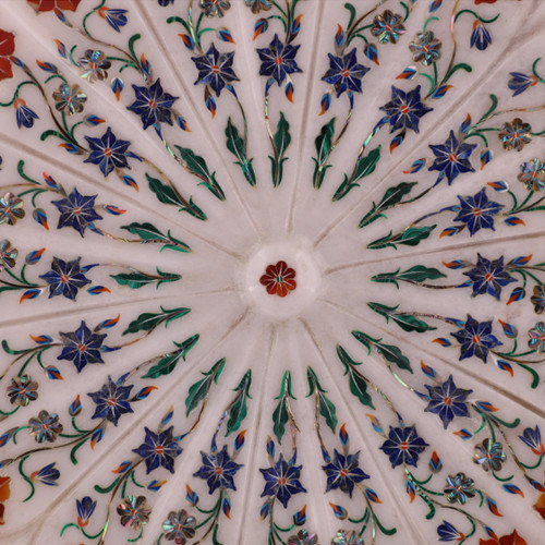 Antique Gemstone Inlaid White Marble Lotus Leaf Bowl Mosaic Art