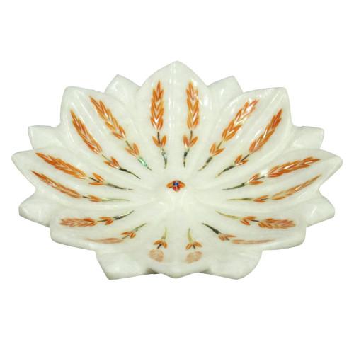 "6"" x 6"" Inch Marble Lotus Leaf Bowl Inlaid Mother of Pearl Gemstone"
