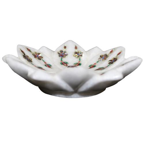 Marble Lotus Leaf Bowl Inlaid Fifteen Century Mughal Era Pietre Dure Work