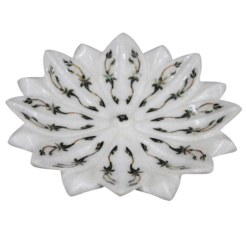 Beautiful Marble Lotus Leaf Bowl With Scagliola Art Work