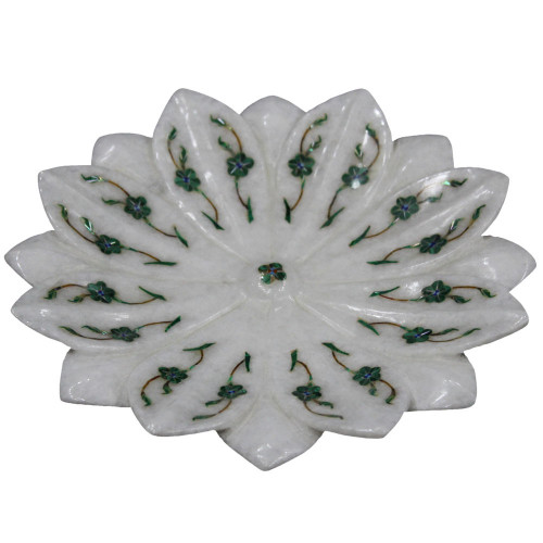 Marble Lotus Leaf Bowl With Unique Mosaic Art Work