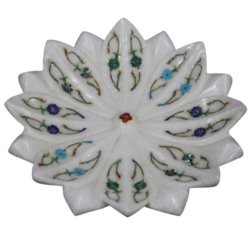 White Marble Lotus Leaf Bowl Mosaic Art For Home Decoration\ Valentine Gift \ New Year Gift