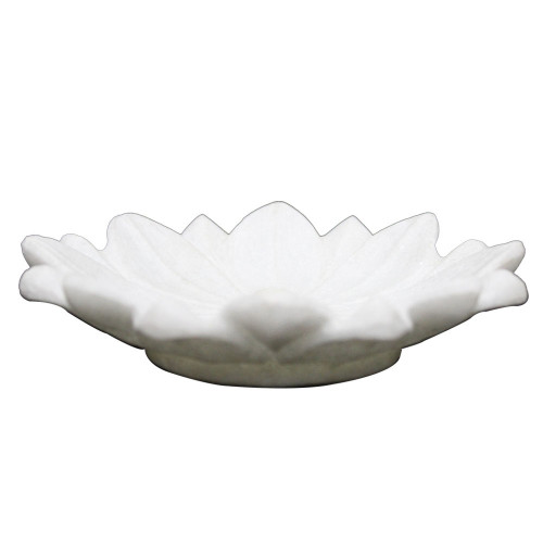 Beautiful White Marble Lotus Leaf Fruit Bowl For Italian Coffee Table