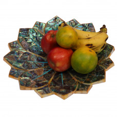 Marble Fruit Bowl Inlay Paua Shell and Turquoise Stones