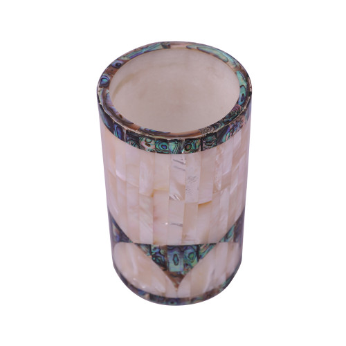 White Marble Pen Holder Inlaid Mother of Pearl Gemstone