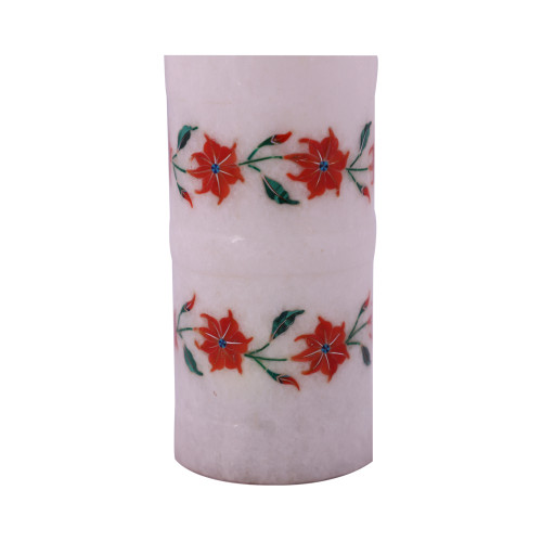 Home Decorative White Marble Pen Holder Inlaid Carnelian Gemstone
