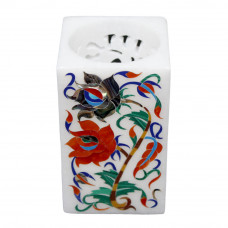 Floral White Alabaster Marble Pen Holder Pietra Dura Inlay Work
