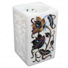 Beautiful Antique Pen Holder/ Candle Holder White Alabaster Marble