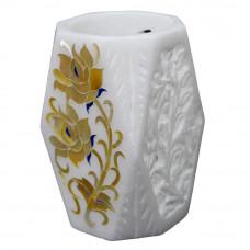 """Floral Inlay White Pen Holder Cum Tissue Holder / Flower Vase 4"""" Inch Height"""