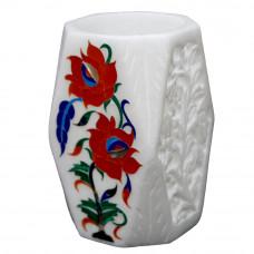Flower Design White Marble Inlay Pen Holder Cum Tissue Holder | Tiny Flower Vase
