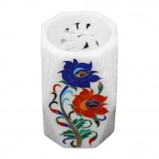Beautiful White Marble Pen Holder Cum Tissue Holder Inlay Pietre Dure Craft Work