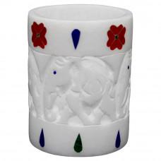 Handmade White Marble Desk Pen Holder Cum Tissue Holder | Tiny Flower Vase Online Buy