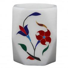 Floral Art Work Pen Holder cum Tissue Holder Inlaid With Stones Pietra Dura Craft Work