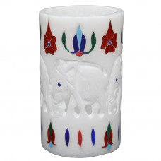 """4"""" Inch White Marble Pen Holder 