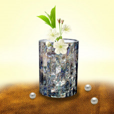 Antique White Marble Inlay Flower Vase Cum Pen Holder Unique Art Piece For Home Decor