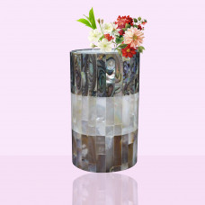 Antique White Marble Inlay Flower Vase Cum Pen Holder | Candle Holder  Inlaid With Stones