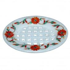 Bathroom Decor White Marble Soap Tray Inlaid Mosaic Art Work