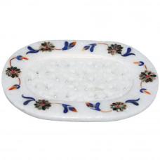 "3.5"" x 5"" Inch Decorative White Marble Soap Tray Inlaid Lapislazuli Stone"