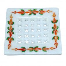 Square White Marble Decorative Soap Dish Holder